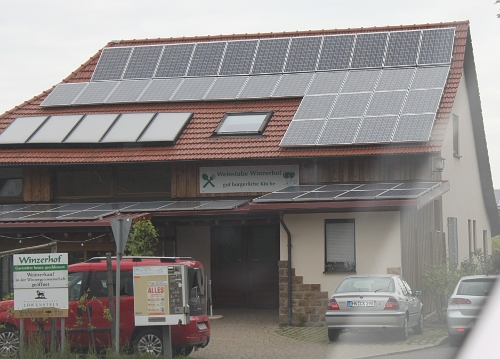 Roadside store with solar panels in Germany.