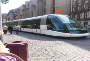 Electric streetcar in Strasbourg, France.
