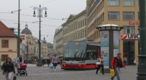Electric streetcar, Prague, Czech republic.